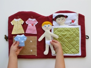 And for the toddler some felt puzzle fun! They sell this in Etsy, but with a little creativity, felt and Velcro; I'm sure your toddler will stay busy in the car!