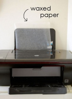 Wax paper method. Simple enough if you can manage your printer to print without jamming the paper. Paper jams happen 9 out of 10 times and are serious enough to damage your printer.